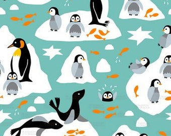 Penquin And Seal Catching Fish by heleen_vd_thillart - Cotton/ Polyester/ Jersey/ Canvas/ Digital Printed