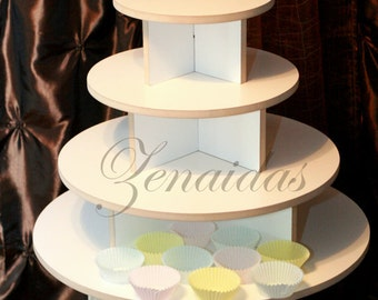 White Melamine Cupcake Stand 65 Cupcakes 4 Tier Round Threaded Rod and Freestanding Style Stand Birthday Stand DIY Project