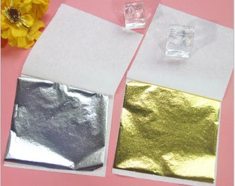 100 Sheets Imitation Gold Leaf for Arts, slime Decoration, 3 by 3 Inches