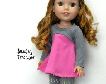 14 inch doll clothes made to fit like wellie wisher doll clothes pink and gray flared top sprinkles leggings