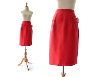 Red Skirt, Talbots Skirt, Linen Skirt, Pencil Skirt, High Waist Skirt, Vintage Skirt, Womens Skirt Red, Womens Clothing, Modest Skirt