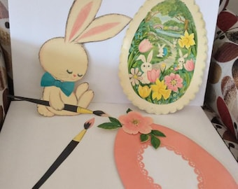 Vintage 1960s 1970s Easter Decor Bunny Egg Paintbrush Flowers  Paper Ephemera Scrap Booking Easter Cards Collectible Decorations Adorable