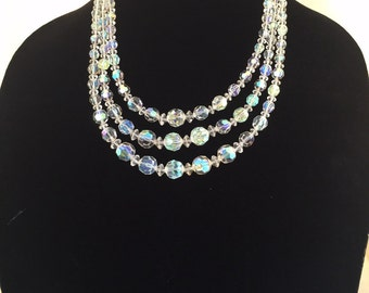 Vintage irredescent tiered crystal necklace