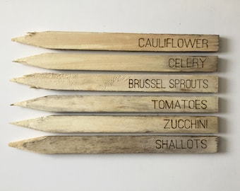 Large Custom Wood Burned Wooden Garden Stakes; Set of Six (6) Garden Markers