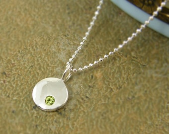 August Birthstone Necklace, Peridot Crystal Necklace, Peridot Silver Necklace, August Birthday Sterling Silver Charm with Chain |NS4