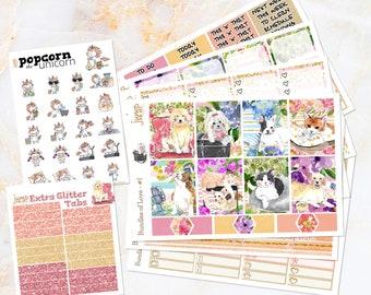 Bundles of Love Cat Dog Pet set / kit weekly stickers - for Erin Condren VERTICAL Planner - donation kitten puppy summer floral