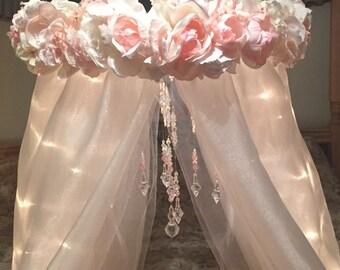 Nursery Canopy-Crib Canopy-Flower Canopy-Baby Canopy-Baby Crib Mobile-Bed Canopy-Canopy With Lights-Nursery Decorations-Newborn Photo Prop