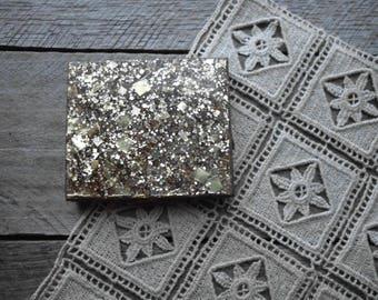 Gold Glitter Lucite  & Brass  Powder Compact