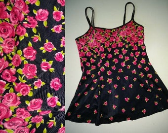 Vintage Skirted Swimsuit Size 16 - 1X - One Piece Swim Suit with Pink Roses on Black by It Figures - Bra Built In - Retro Floral Plus Size
