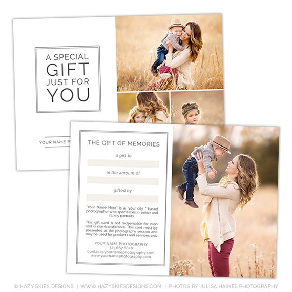 Photography Studio Gift Certificate Template Photography Gift