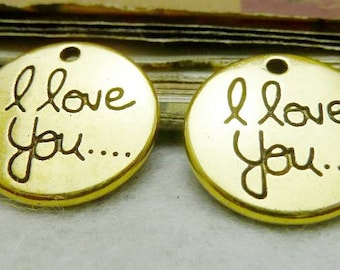 20mm Antique Silver tone/Golden I Love You Pendant Charm Finding