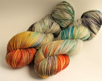 Hand Dyed Sport Weight Yarn,  80/20 Super Wash Merino Wool/Nylon, Brew