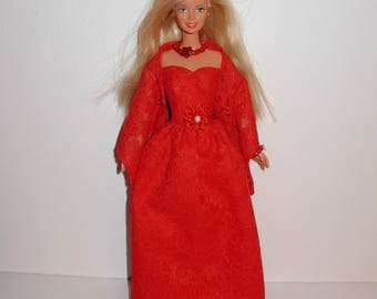 Adorable double layer gown with shawl necklace bracelet 4 barbie. Handmade barbie clothes