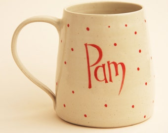 Large modern named handthrown mug with large handle, personalised gift for him or her, beer mug or tea/coffee mug
