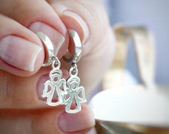 Angel Earrings Sterling Angel Tiny Earrings Mom-to-be Earrings Silver Earrings Guardian Angel Earrings Girl Angel Earrings Dainty Earrings