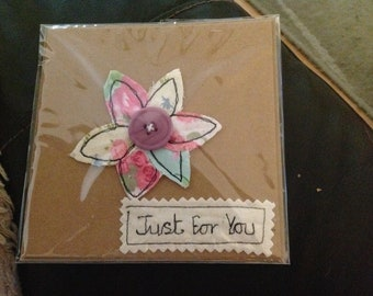 Free motion machine embroidered card