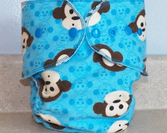 Fitted Small Cloth Diaper- 6 to 12 pounds- Blue Monkeys- 17010