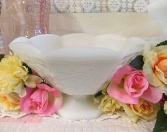 4 Vintage White or Milk Glass Large Footed Bowls Grapevine Design B600