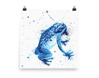 "Blue Poison Dart Frog — 10 x 10""  Fine Art Poster - Decor - Children's art - Animal portrait - Illustration - watercolor"