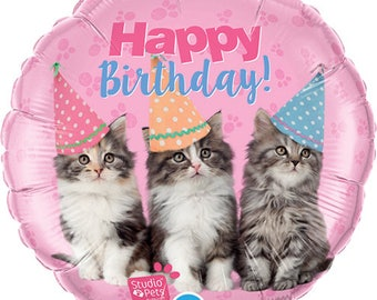 Kittem Happy Birthday balloon/ Cat's birthday/ Cat birthday party / kitty balloons / kitten balloon