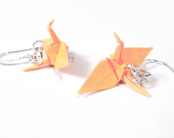 "Origami Crane earrings Miniature 3/4""   - Peach Paper Crane Earrings Solid Color"