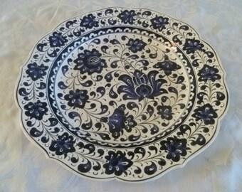 "Platter, Turkish ceramic platter, 12"" Platter, Iznik floral design, large plate, indigo and white, serving plate, wall art, wedding gift"