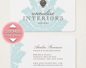 Pretty Blue Damask Business Cards (Fully Customized for you) No headaches - Digital File Only