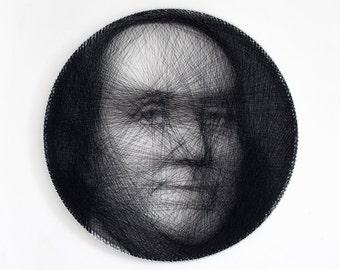 Portrait, Personal portrait, Gift, Portrait of thread, Personalized gift, Custom portrait, Home decor, Wheel, String Art, Benjamin Franklin