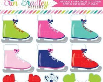 80% OFF SALE Ice Skating Clipart Commercial Use Digital Clip Art Ice Skates Mittens and Snowflake Graphics