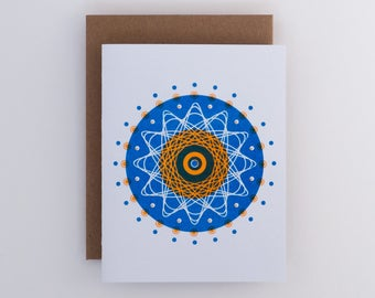 Atom Spirals Greeting Card in Blue and Orange // Abstract Universe // Science Nerd Gift // Geekery // Risograph Stationery for Geeks