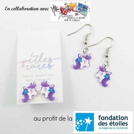 purple unicorn, mika design, blue, star, stud, earring, shrinkplastic, foundraising, stainless stud, nickel free, handmade, les perles rares