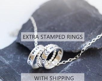 Extra Stamped Rings - WITH SHIPPING -  For Personalised Silver Rings Necklace