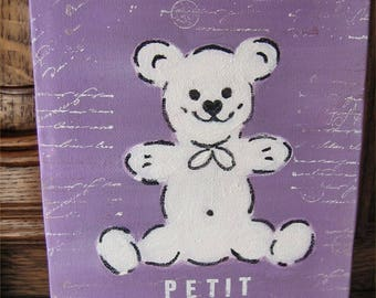 White bear purple background with the acrylic painting