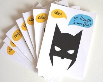 10 invitations (birthday child) batman