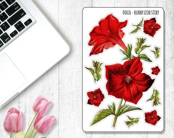 D0026 | Red Flower Crimson Petunia Decoration Stickers | Bullet Journal, Planner, Travel Notebook, Journal, Diary, Agenda, Stationery, Bujo