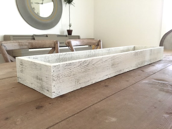 "Tray - White Washed l Wooden Long Tray | Long Wooden Box 46"" length"