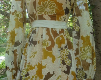 Floral boho dress  1970s  maxi  vintage cotton hippie dress brown cream yellow  festival  small from vintage opulence on Etsy