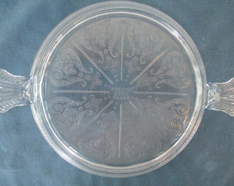 Vintage Fire King Philbe Sapphire Blue Etched Glass Cake Plate Trivet With Handles Depression Glass Collectible