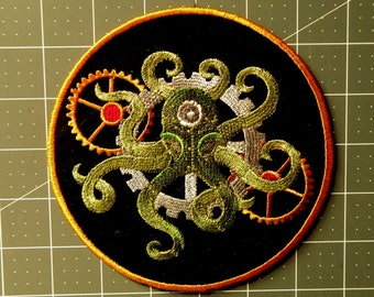 """Steampunk Octopus Iron on Patch-  5.83"""""""