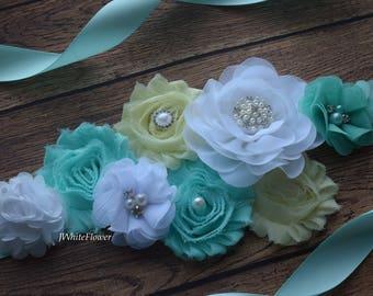 White aqua yellow sash, flower Belt, maternity sash, wedding sash, flower girl sash, maternity sash belt