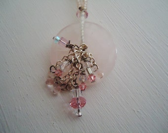 Pink stone and glass beaded necklace