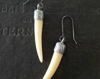 Maul - Carved Bone Tooth Earrings - Spike Earrings