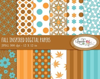 50%OFF Fall, Autumn digital papers, Fall digital scrapbook paper, scrapbook patterned paper for commercial use, P39