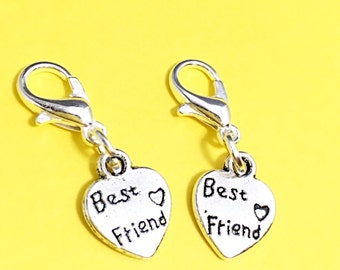 Add a charm, best friend charm, add a bff charm,set of 2 clip on charms, silver bff charms