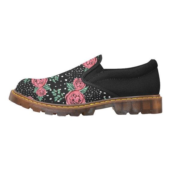 shoes slip Women's shoes designed roses ladies shoes canvas art on on black sole shoes rubber and shoes flats slip wwxg4qH