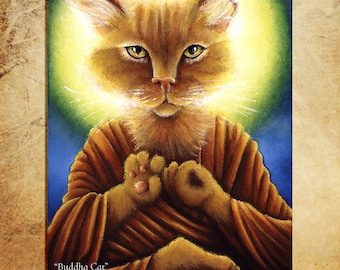 Buddha Cat Ginger Tabby Meditating 11x14 Fine Art Reproduction Print