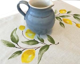 Tea towel hand painted lemons