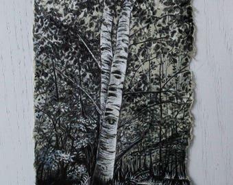 Birch, Treescape II - Original Artwork, Birch Tree Drawing, Ballpoint Pen, Nature Art, Botanical Art