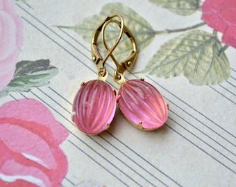 Vintage Pink Earrings, Pink Glass Drop Earrings, Vintage Bead Jewelry, Retro Pink Oval Earrings, Pink Orange Earrings, Mothers Day Gift Wife