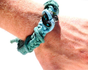 Tie Dye Woven Bracelet, Tibetan Turquoise Celtic Wrist Cuff, Healing Stones Jewelry, ForeArm Rings